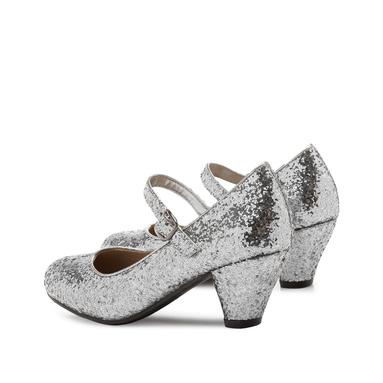 Hõbedased säravad kingad tüdrukutele ,lai konts.