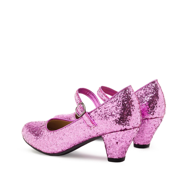 Salon Merceditas en Glitter Rosa para Niñas con tacon Ancho.