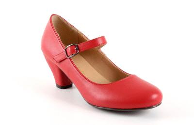 Salon Merceditas en Soft Rojo para Niñas con tacon Ancho.