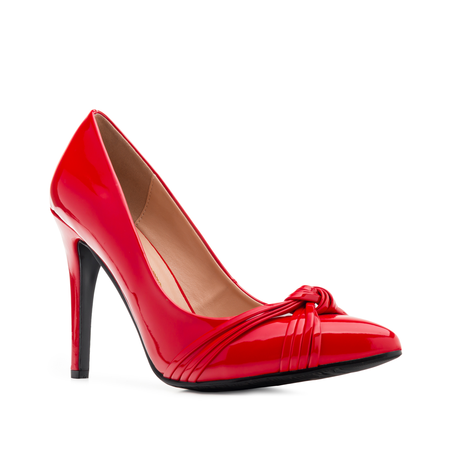 Knot Stilettos in Red Patent
