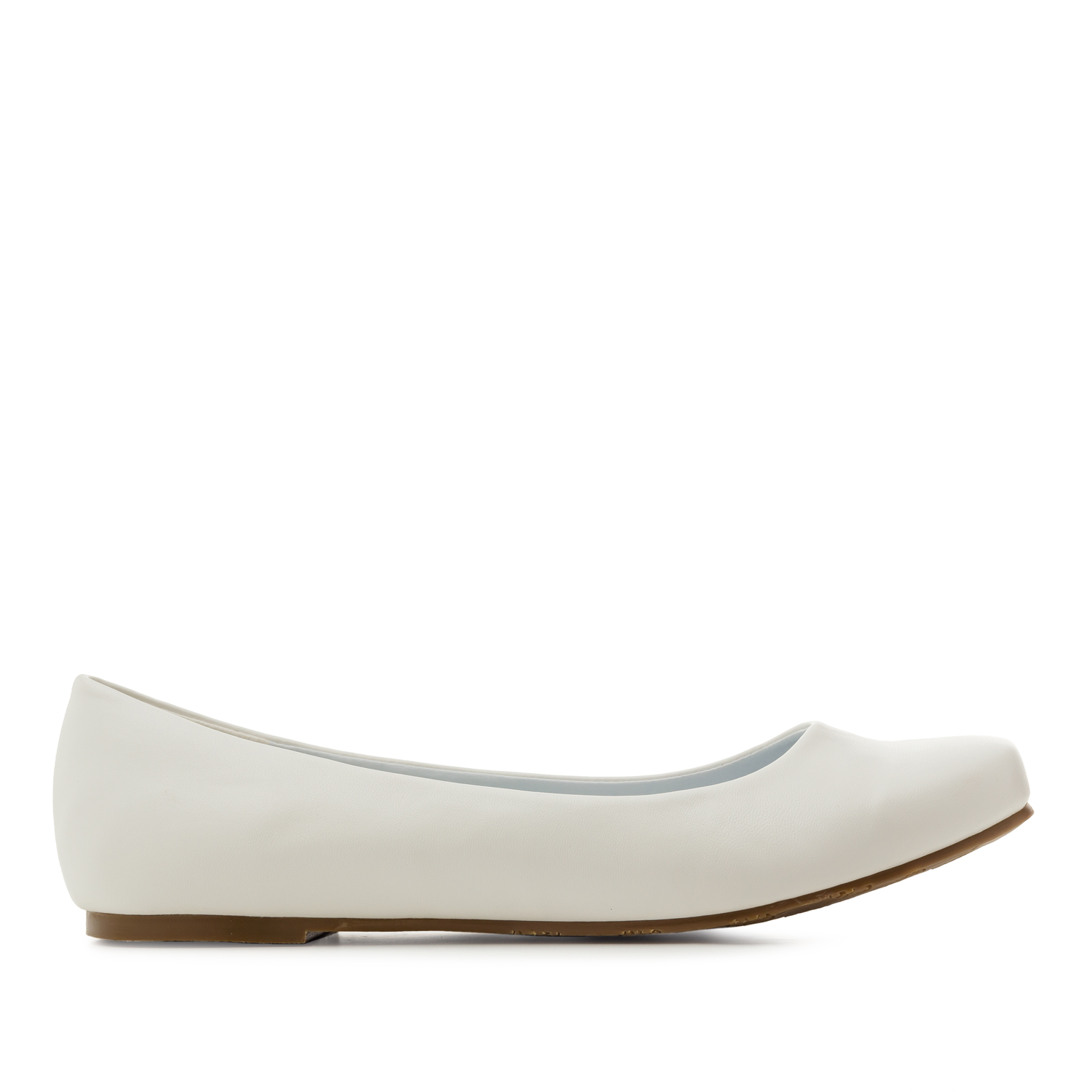 Classic Ballerinas in White faux Soft-Leather