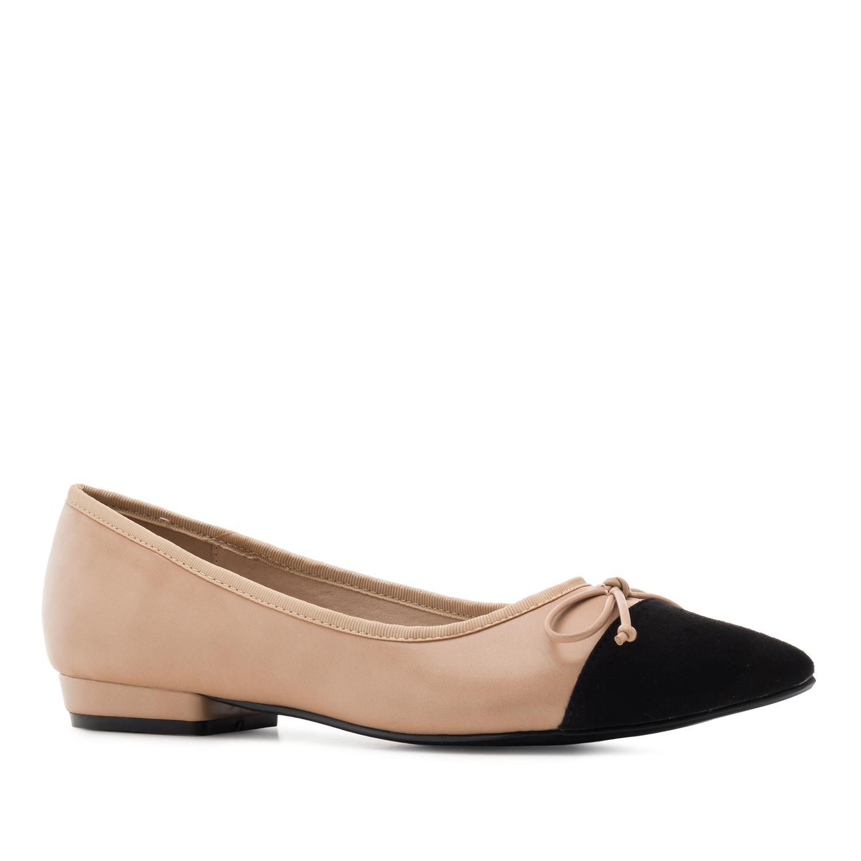 Nude/musta rusetti ballerina