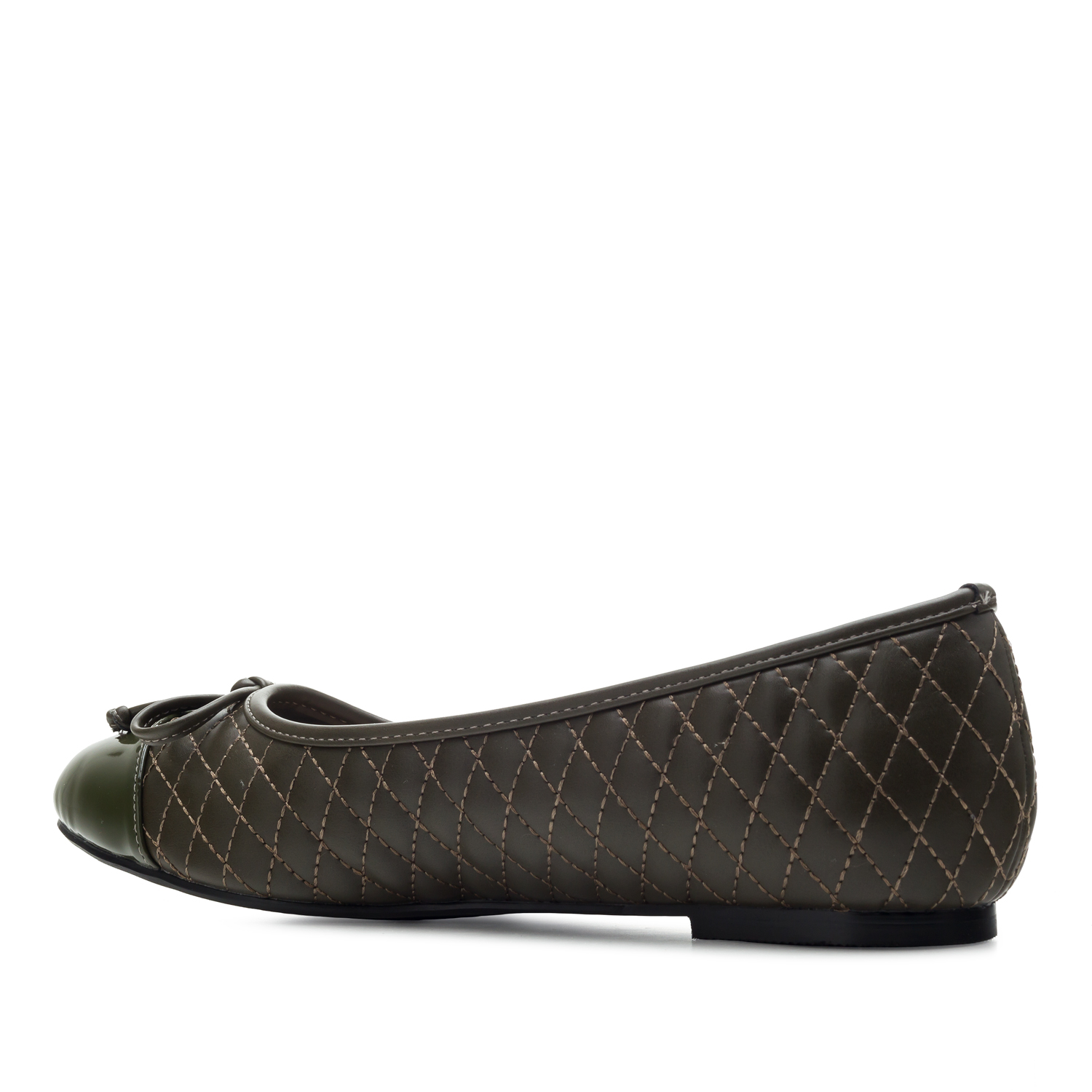 Ballet Flats in Olive Green faux Leather
