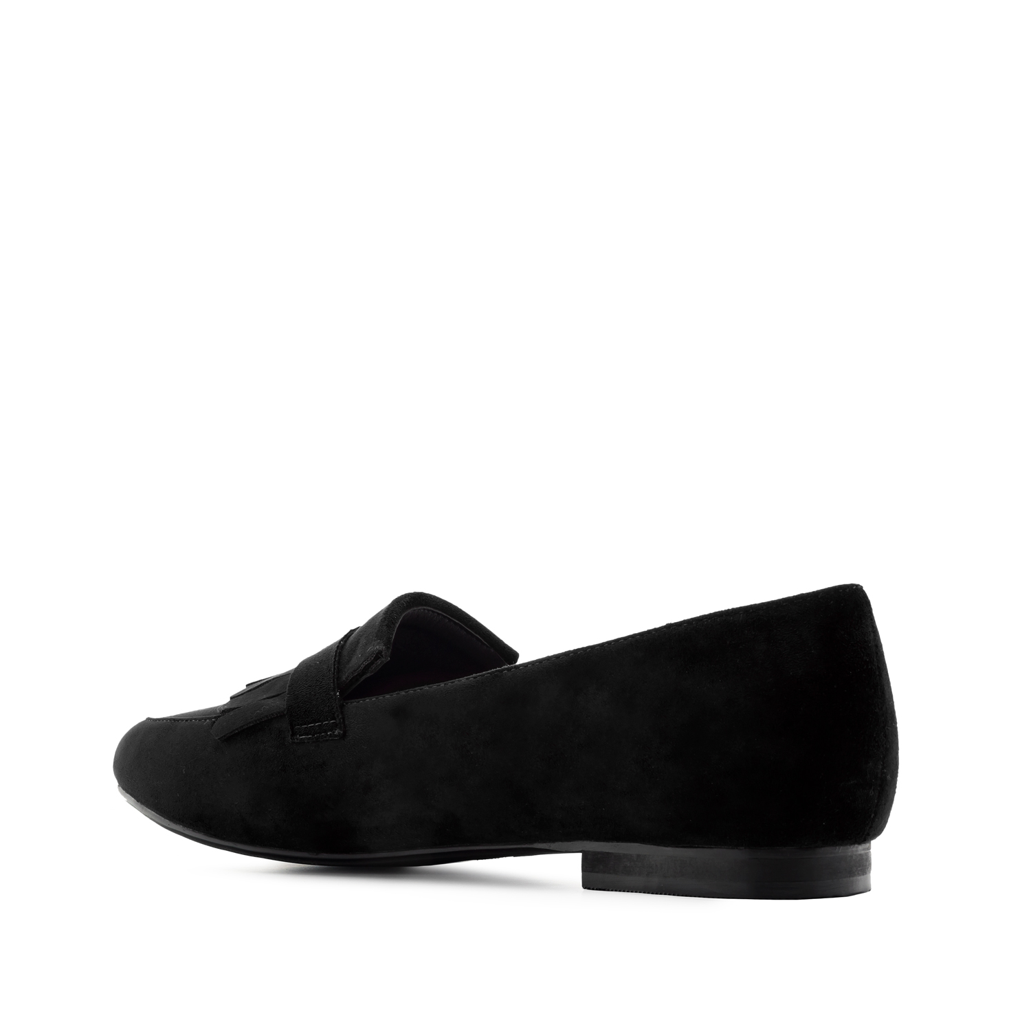 Fringed Loafers in Black Suede