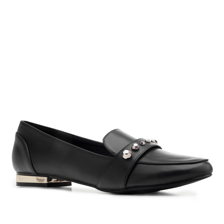 Mustat nahkajäljitelmä loaferit