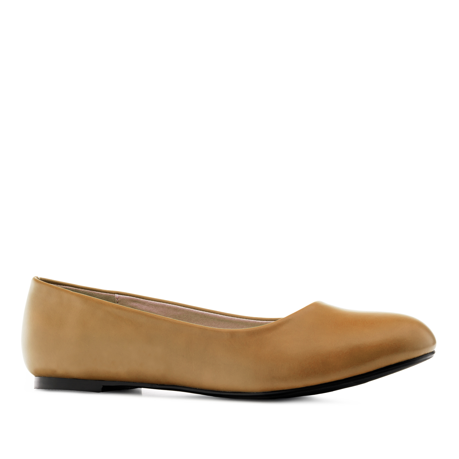 Plain Ballet Flats in Camel faux Leather