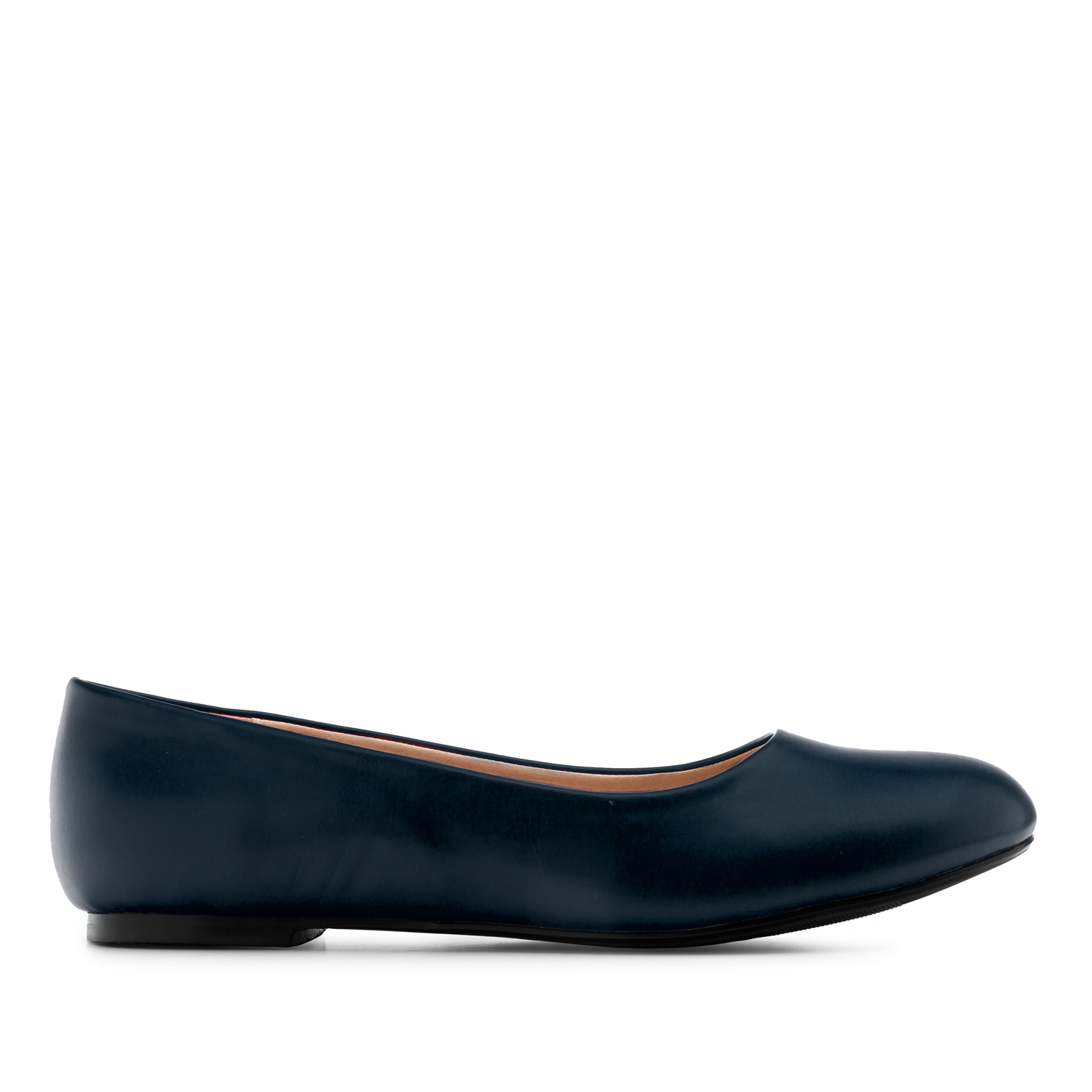 Plain Ballet Flats in Navy faux Leather