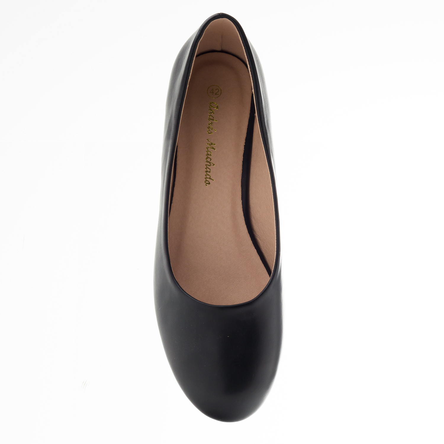 Plain Ballet Flats in Black faux Leather