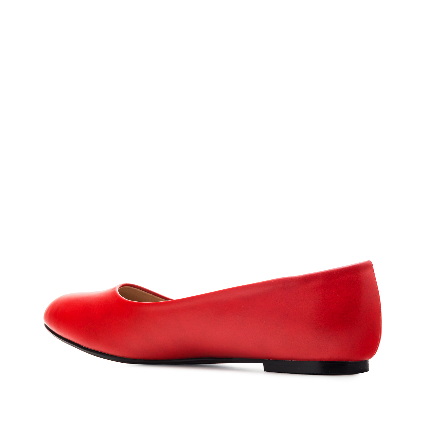 Plain Ballet Flats in Red faux Leather