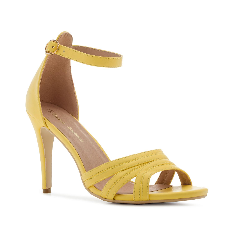 Keltainen kantakapillinen sandaletti