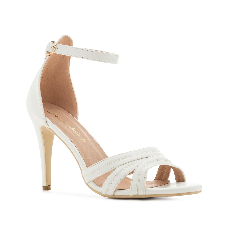 Valkoinen kantakapillinen sandaletti
