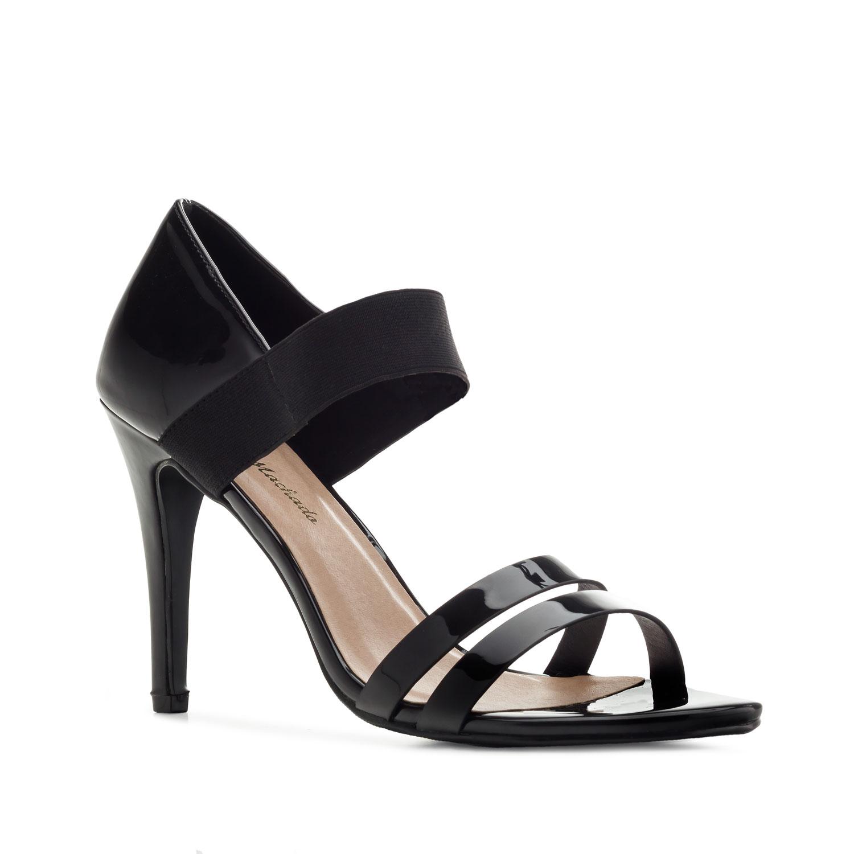 Lesklé sandále na vysokém podpatku. Černé.