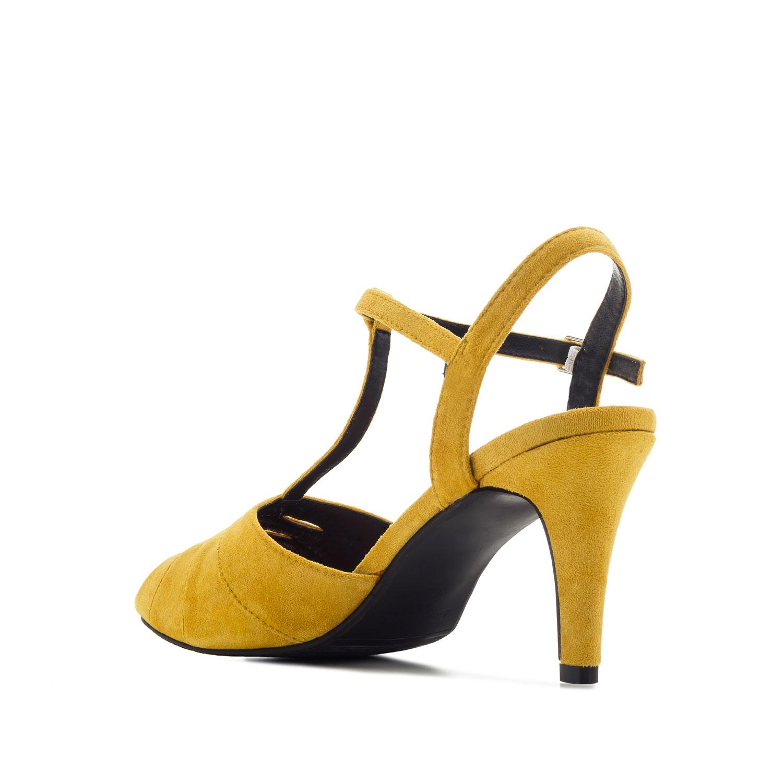 Retro T-bar semišové sandále. Okrová žlutá.