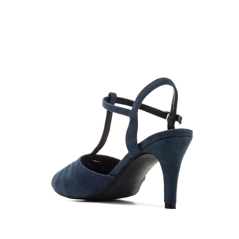 Sandalias T-Bar Ante Azul