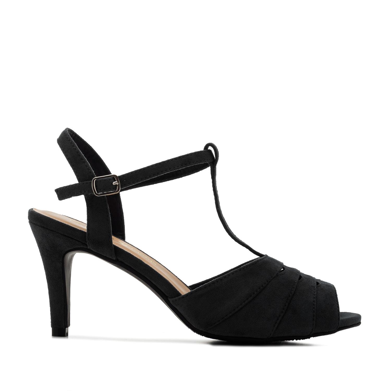 Retro T-bar semišové sandále. Černé.