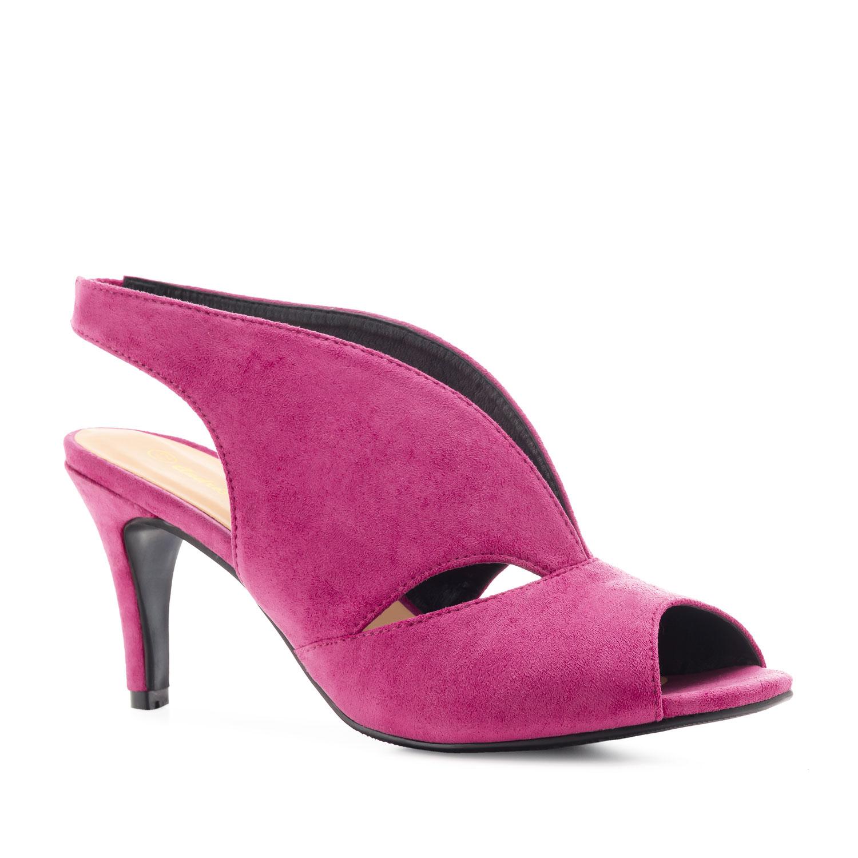 Semišová jarní dámská obuv. Růžová fuchsie.