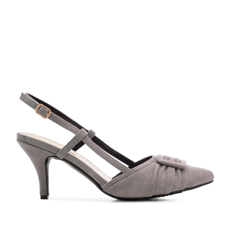Dámská otevřená elegantní obuv. Šedý semiš.