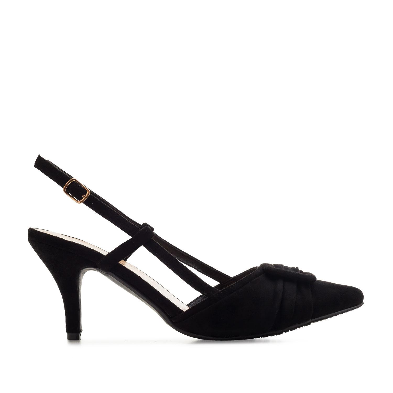Dámská otevřená elegantní obuv. Černý semiš.