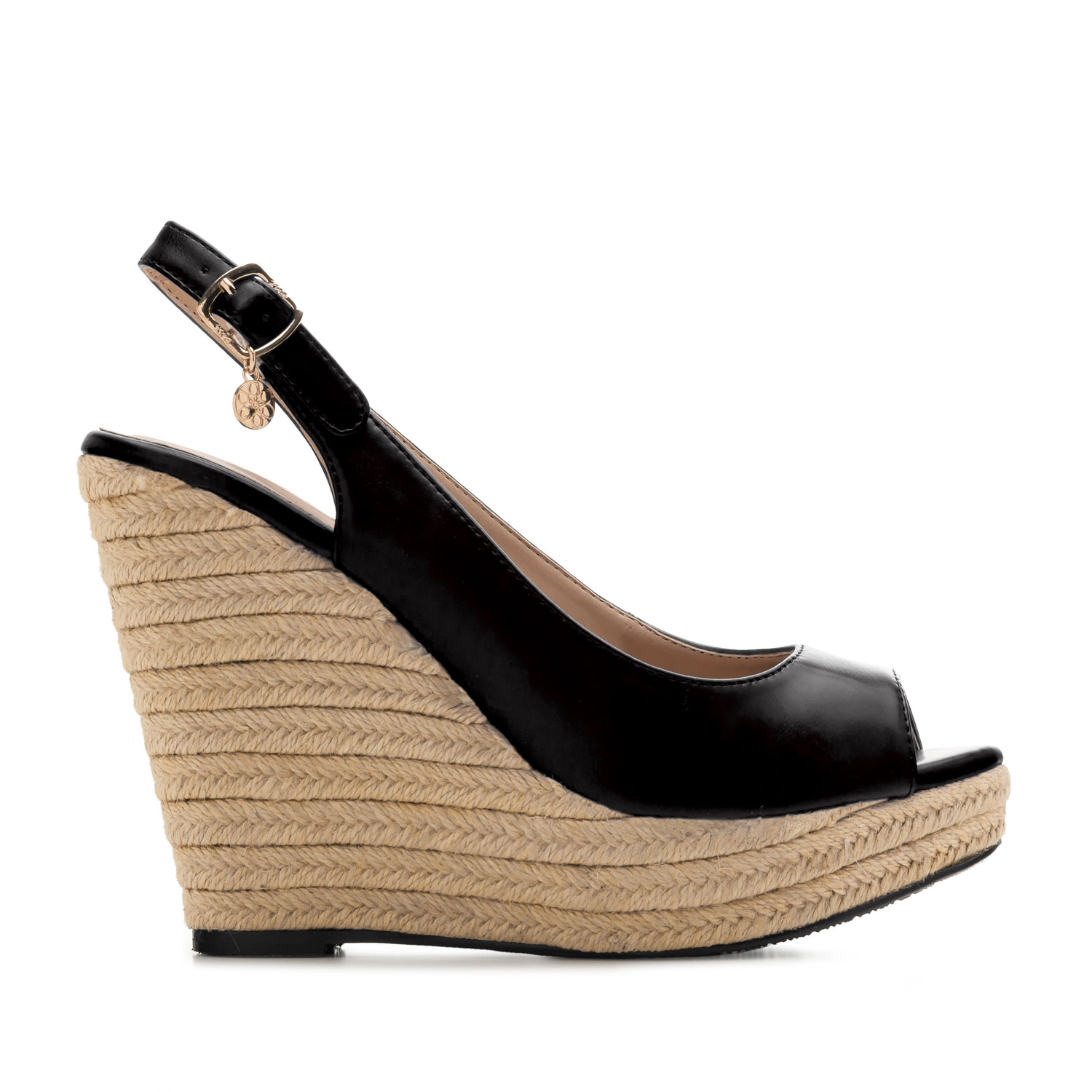 Jute Wedges in Black faux Leather