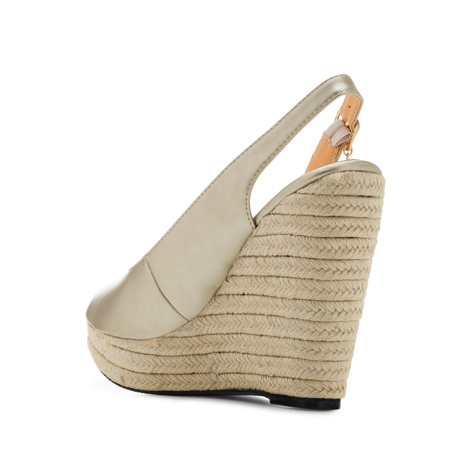 Jute Wedges in Gold faux Leather