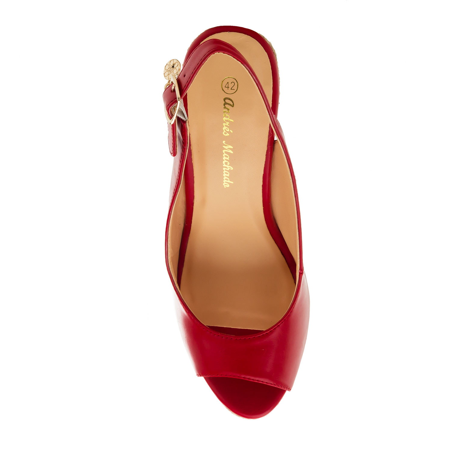 Jute Wedges in Red faux Leather
