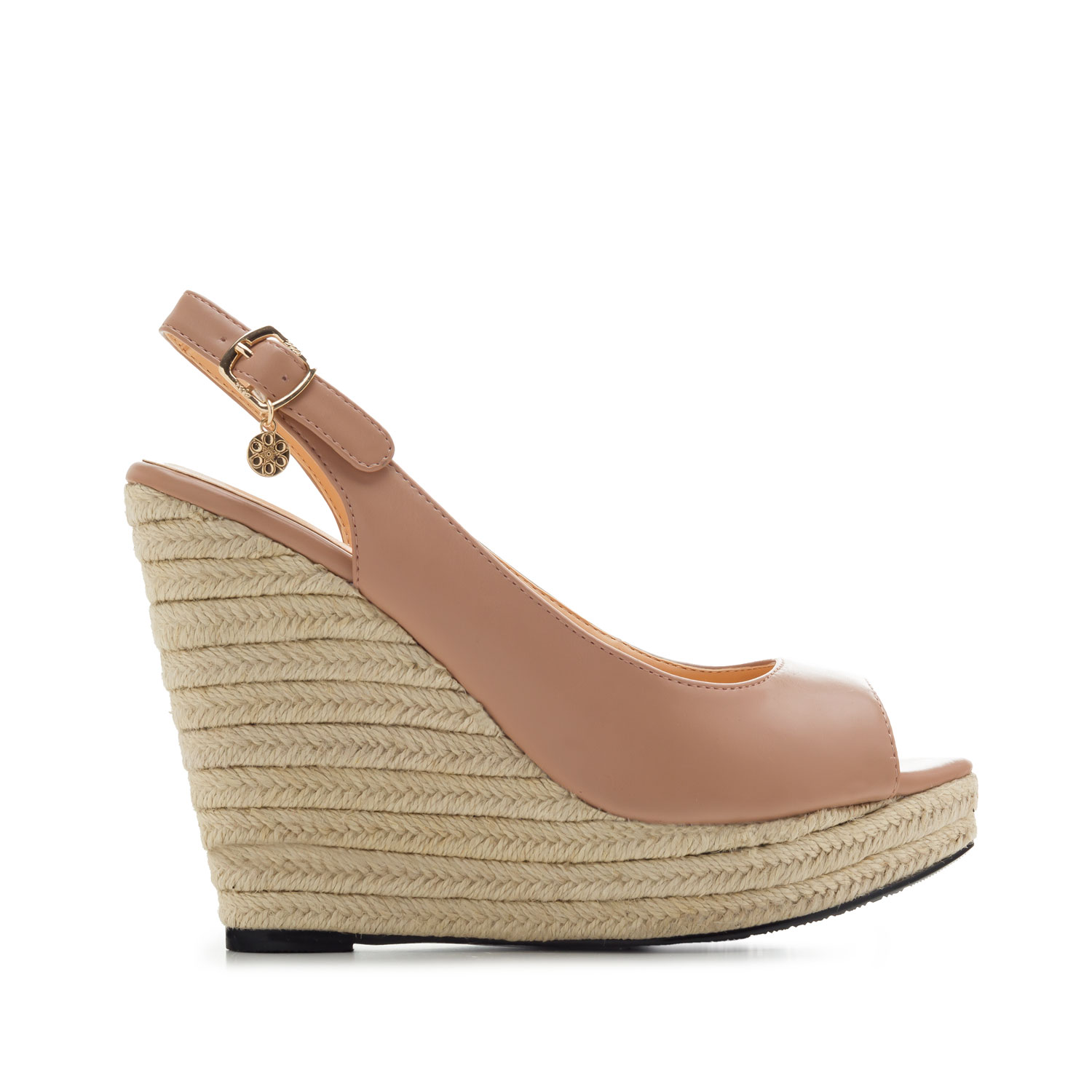 Jute Wedges in Salmon faux Leather