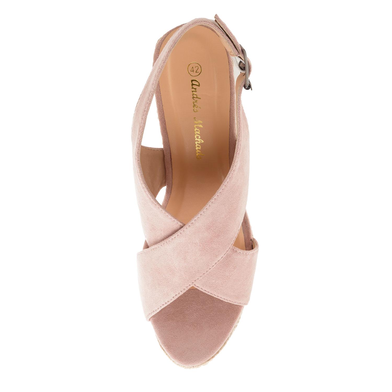 Semišová obuv na extra vysokém klínu. Růžová.