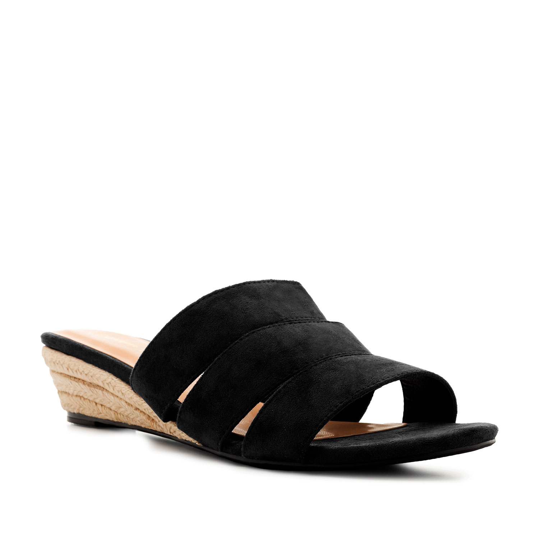 Sandalias Ante Negro con cuña