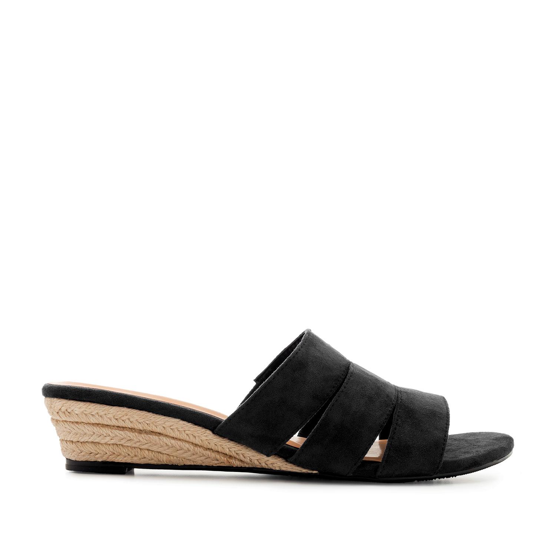 Sandales compensées en Suédine Noir