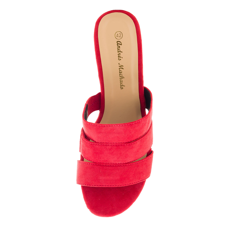 Sandalias Ante Rojo con cuña