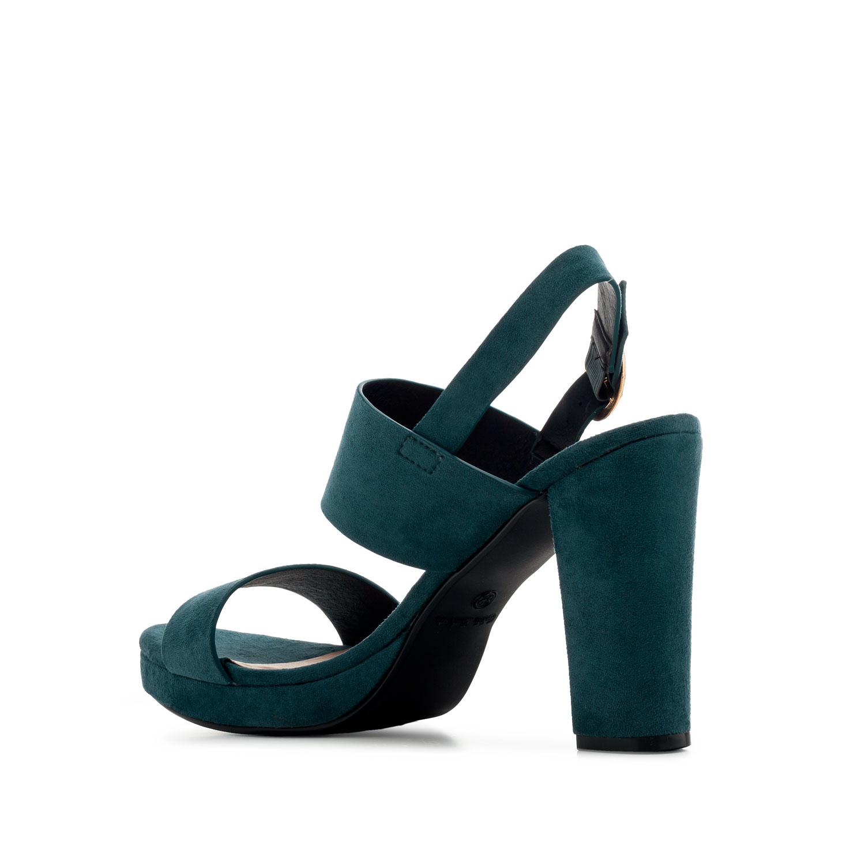 Semišové páskové vysoké sandály. Modré.