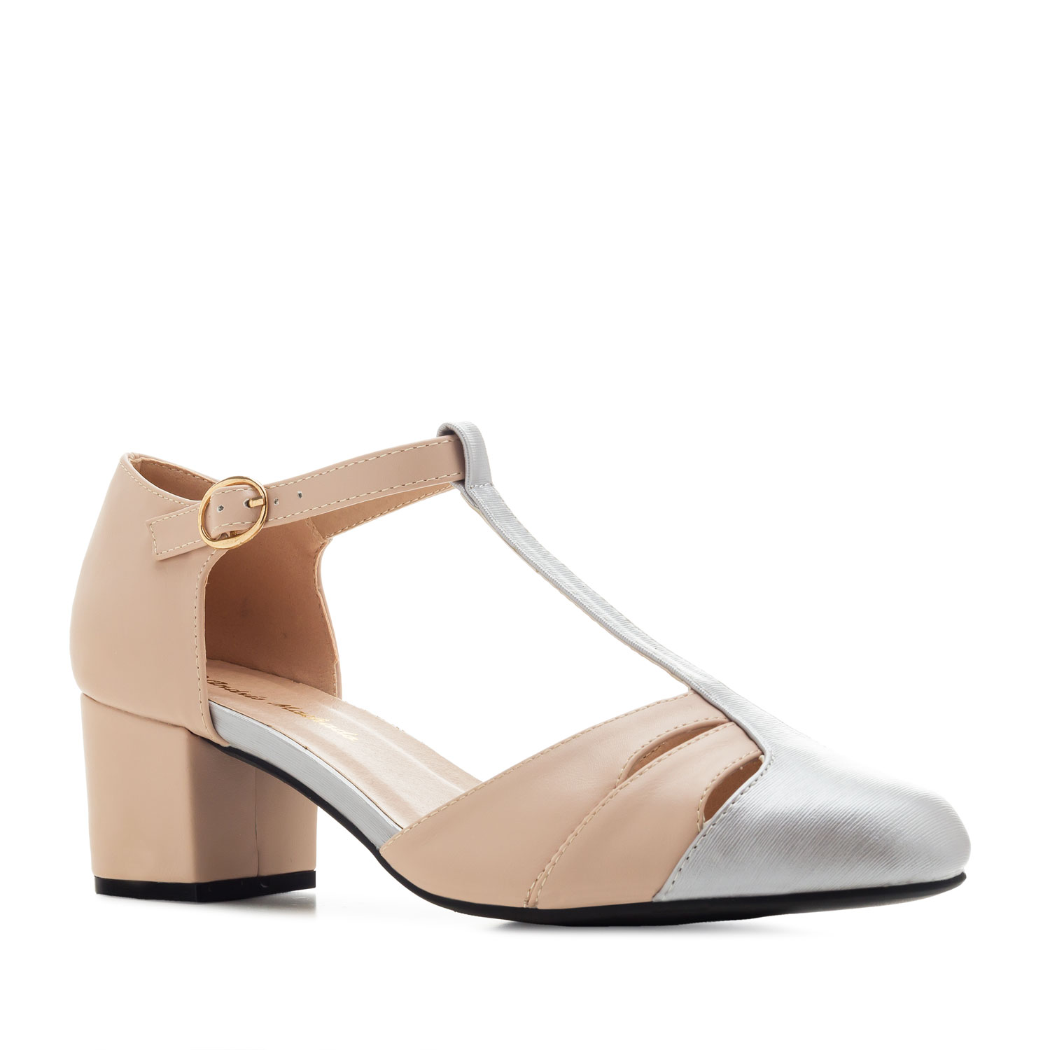Charleston Shoes in Nude & Silver faux Leather
