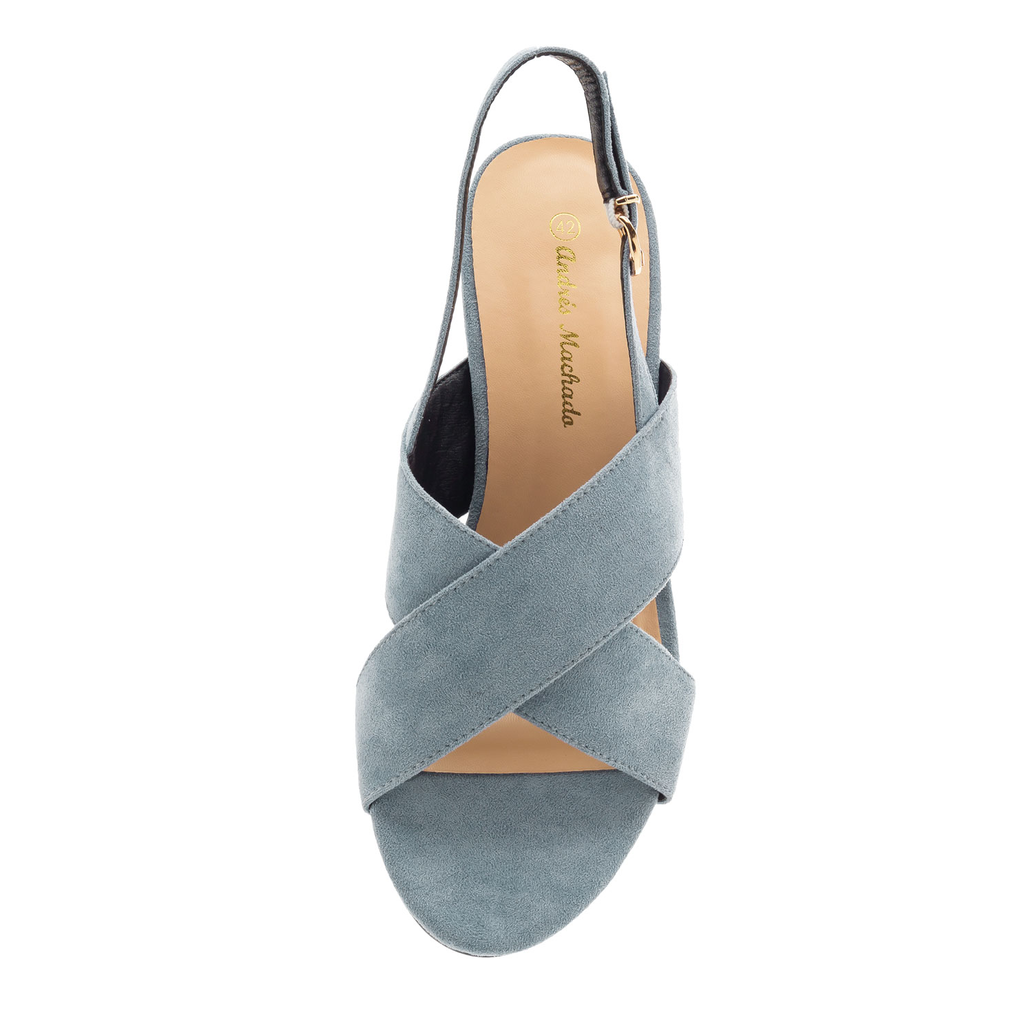 Slingback Cross-band Sandals in Blue Suede