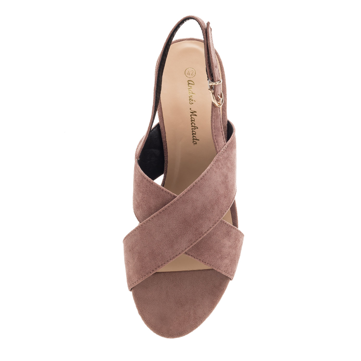 Slingback Cross-band Sandals in Nude Suede
