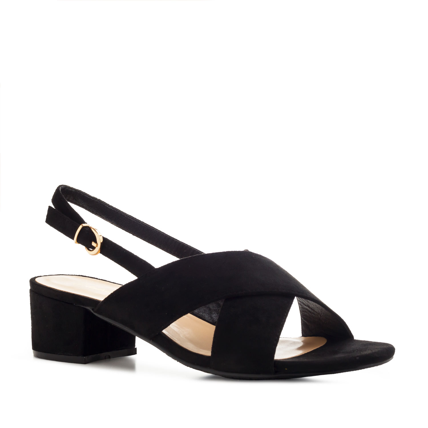 Slingback Cross-band Sandals in Black Suede
