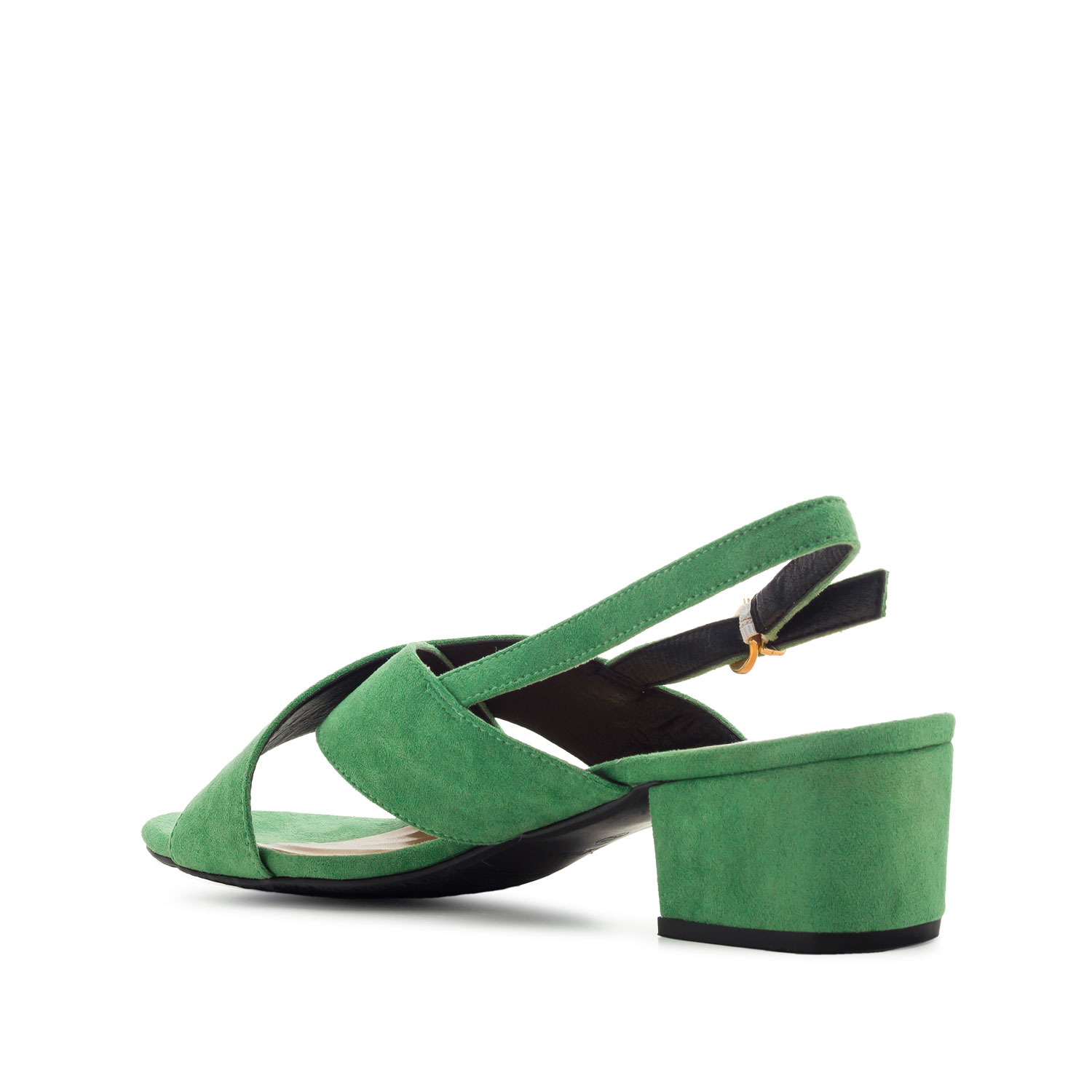 Slingback Cross-band Sandals in Green Suede