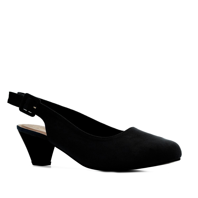 Chaussures ouvertes à l´arrière en Suédine Noir