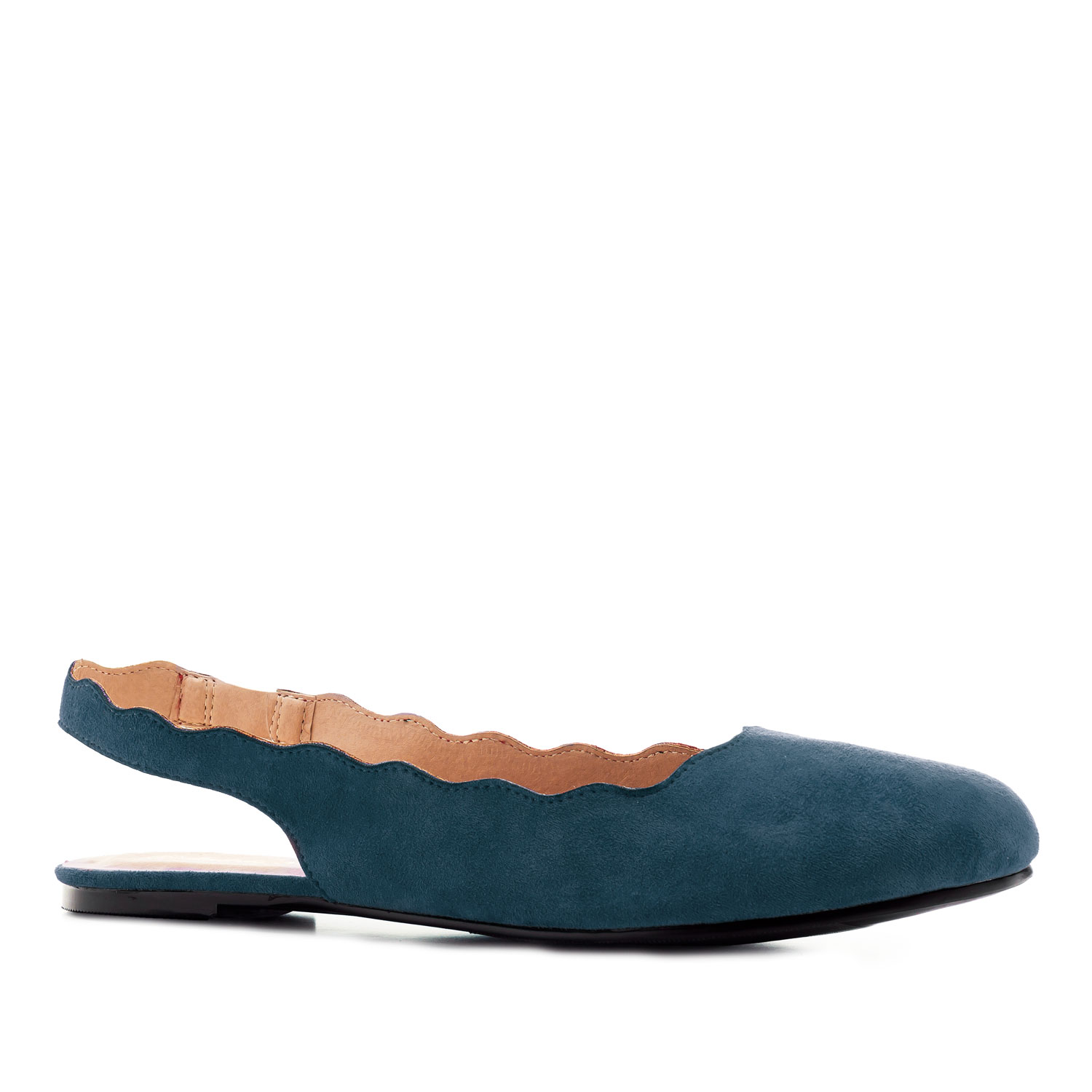 Wavy Slingback Flats in Blue Suede