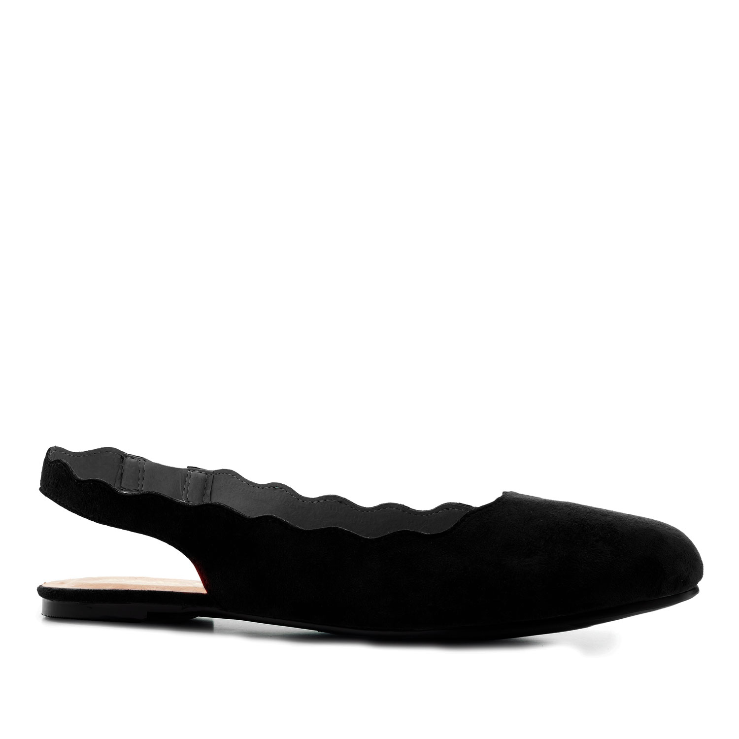 Wavy Slingback Flats in Black Suede