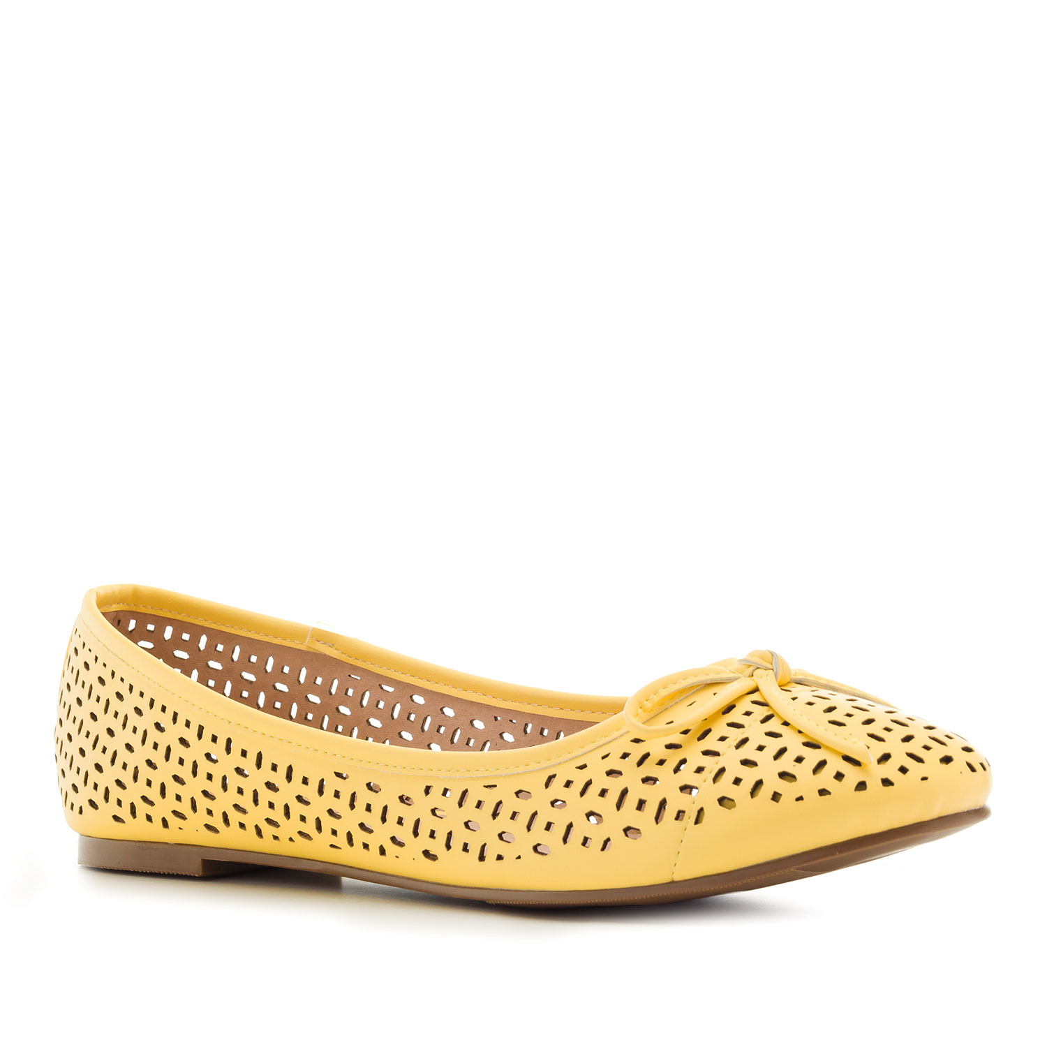 Die-cut Ballet Flats in Yellow faux Leather