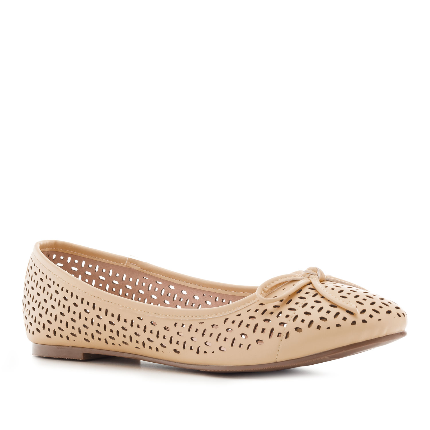 Die-cut Ballet Flats in Beige faux Leather
