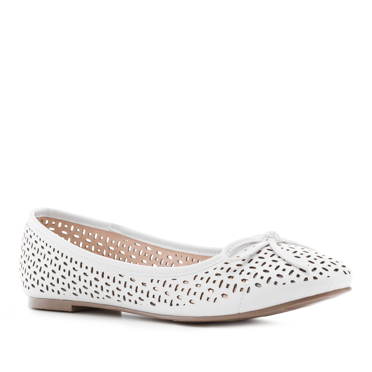 Die-cut Ballet Flats in White faux Leather