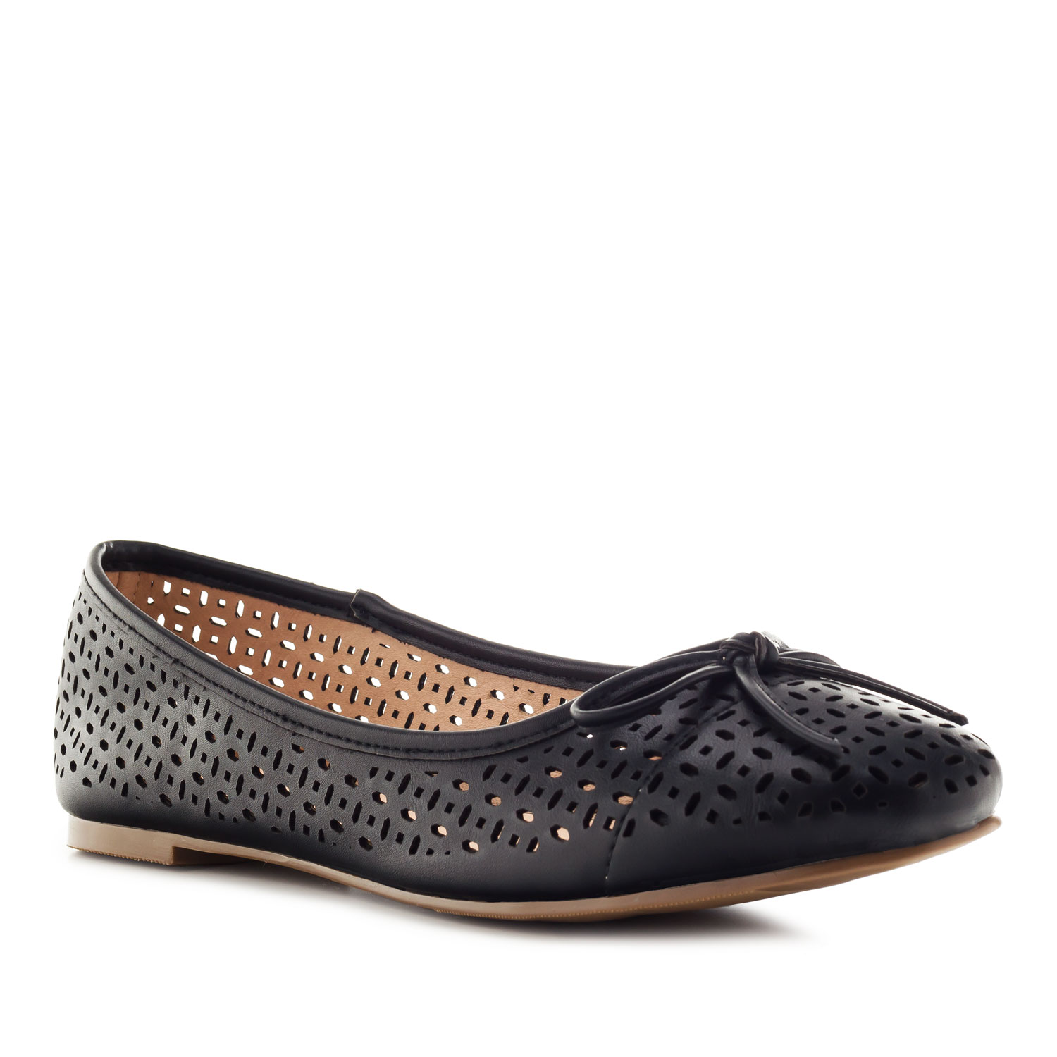 Die-cut Ballet Flats in Black faux Leather