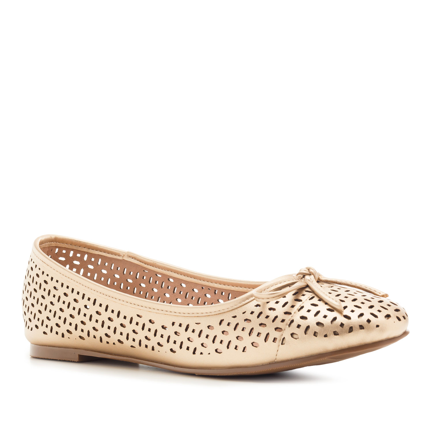 Die-cut Ballet Flats in Gold faux Leather