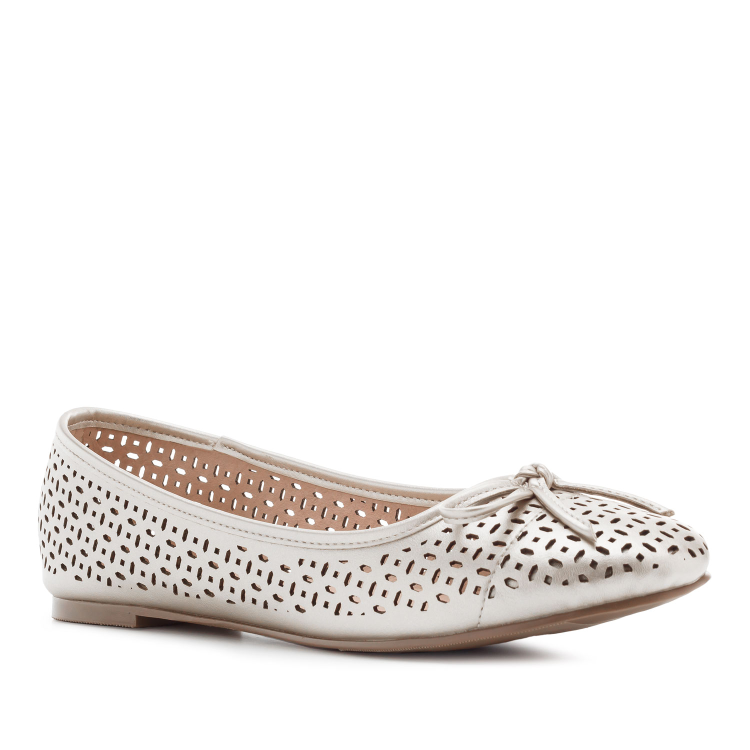 Die-cut Ballet Flats in Silver faux Leather
