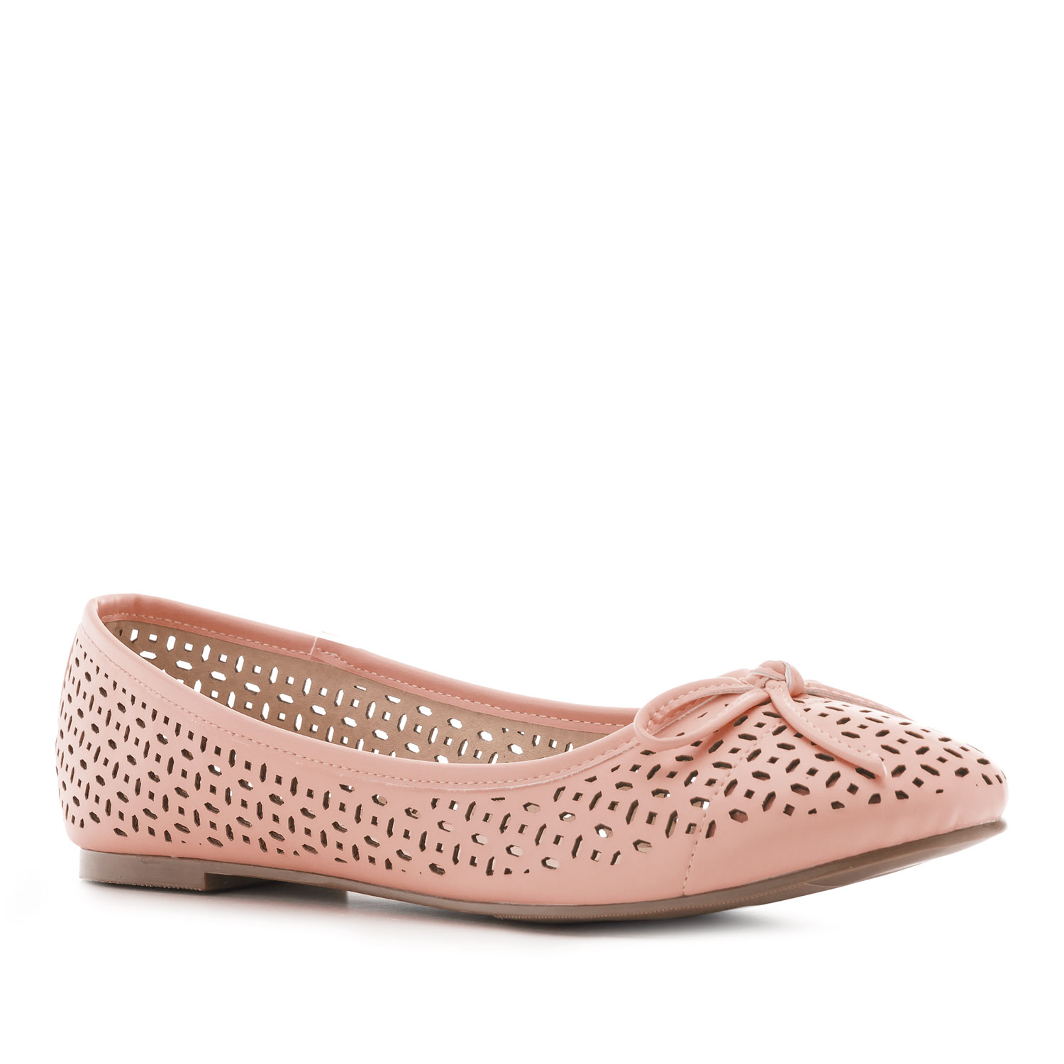 Die-cut Ballet Flats in Salmon faux Leather