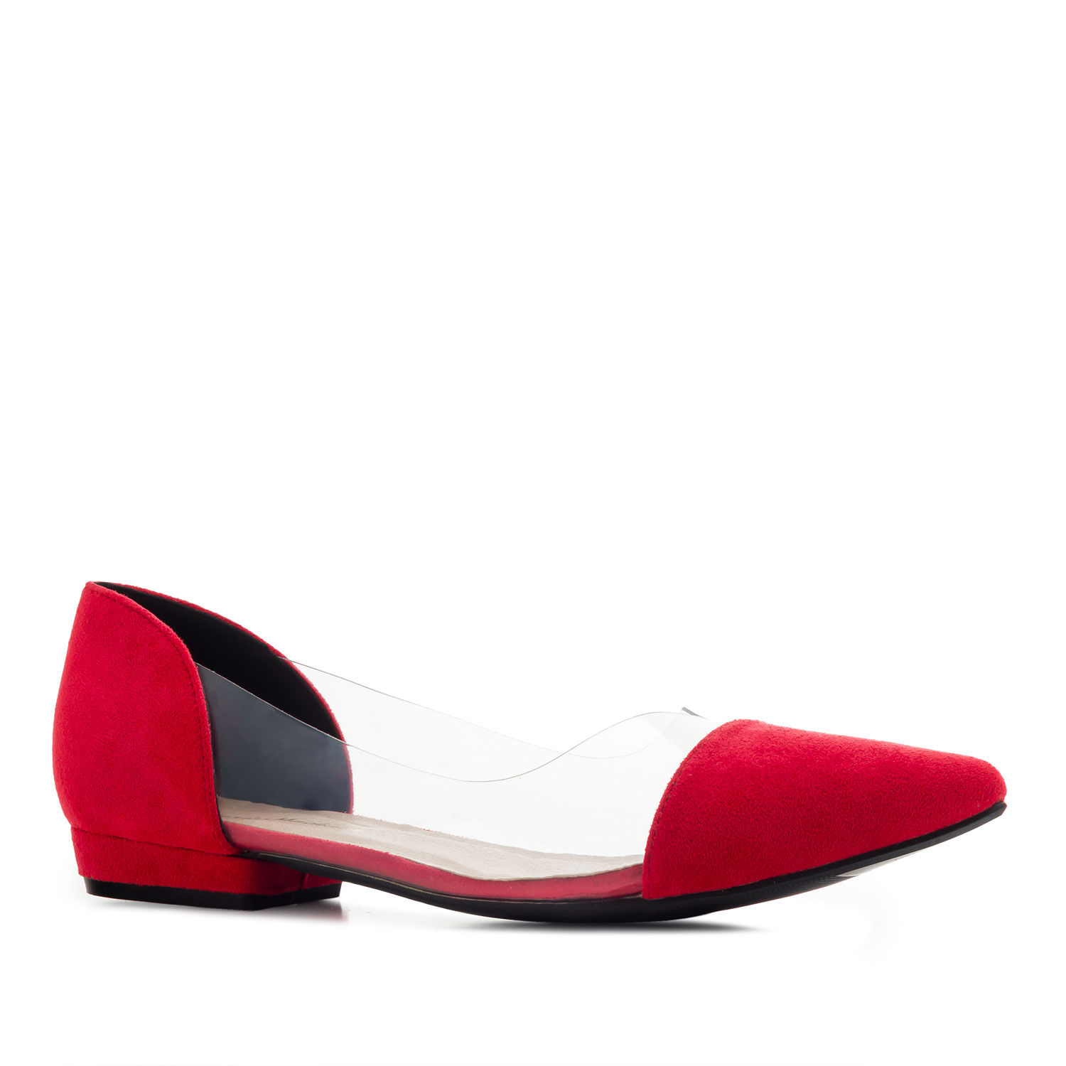 Vinyl Ballet Flats in Red Suede