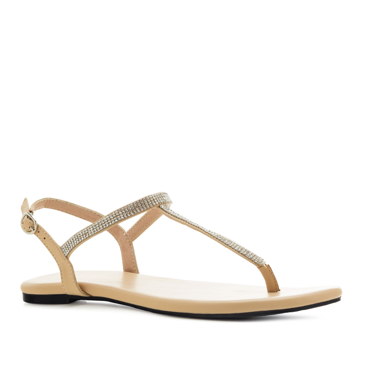 T-Bar Flat Sandals in Beige faux Leather with Strass
