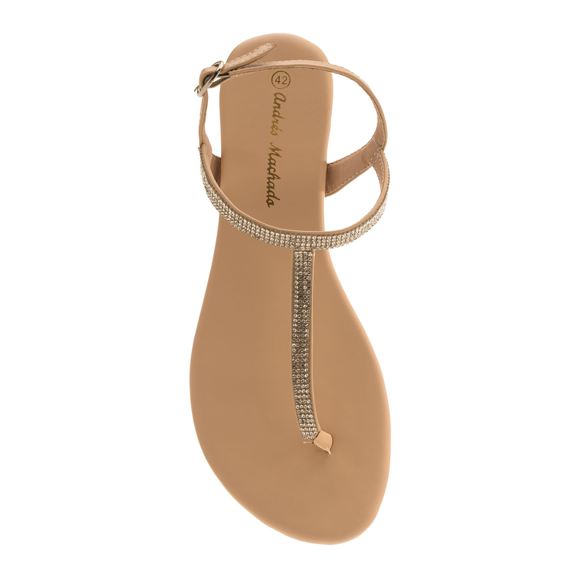 Sandalias T-Bar Brillo Beige