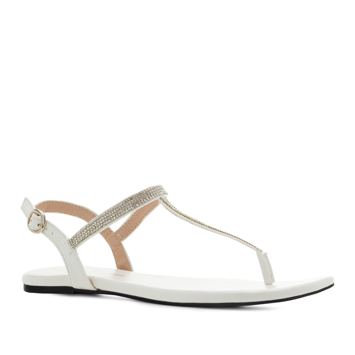 T-Bar Flat Sandals in White faux Leather with Strass
